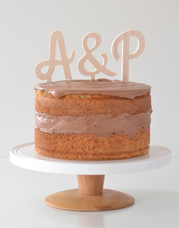 Adornos tartas cake toppers personalizados para boda set iniciales cursivas