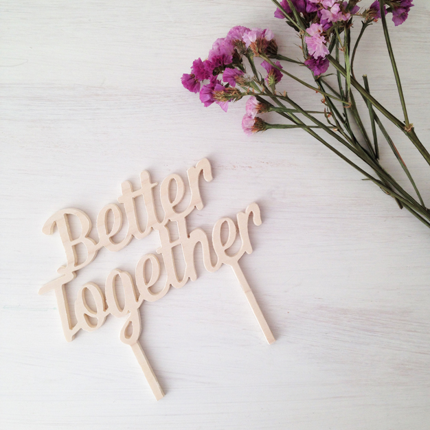 Adornos tartas cake toppers personalizados BETTER TOGETHER