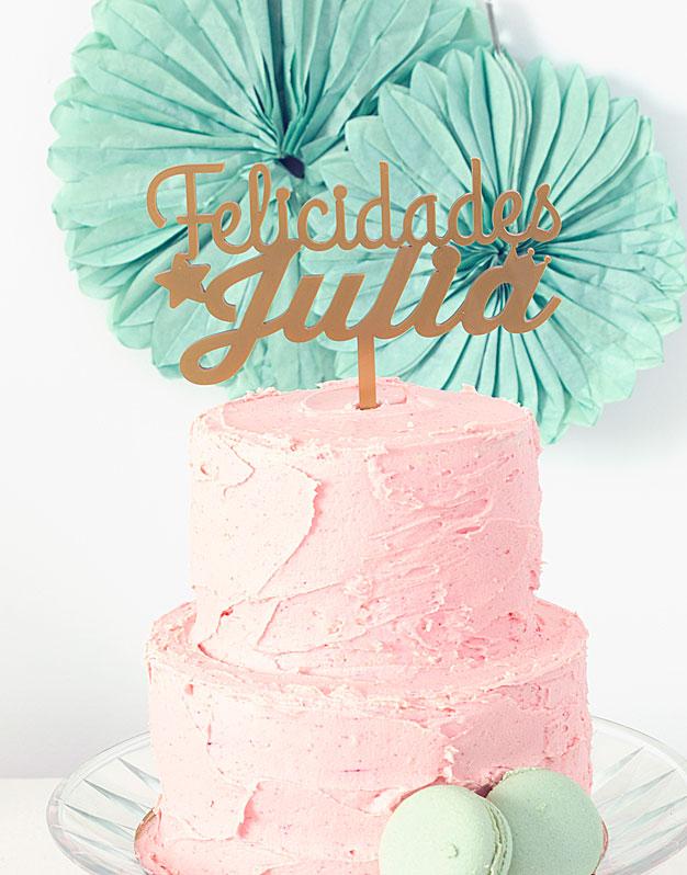 Adorno personalizado para tarta cumpleaños con felicidades nombre