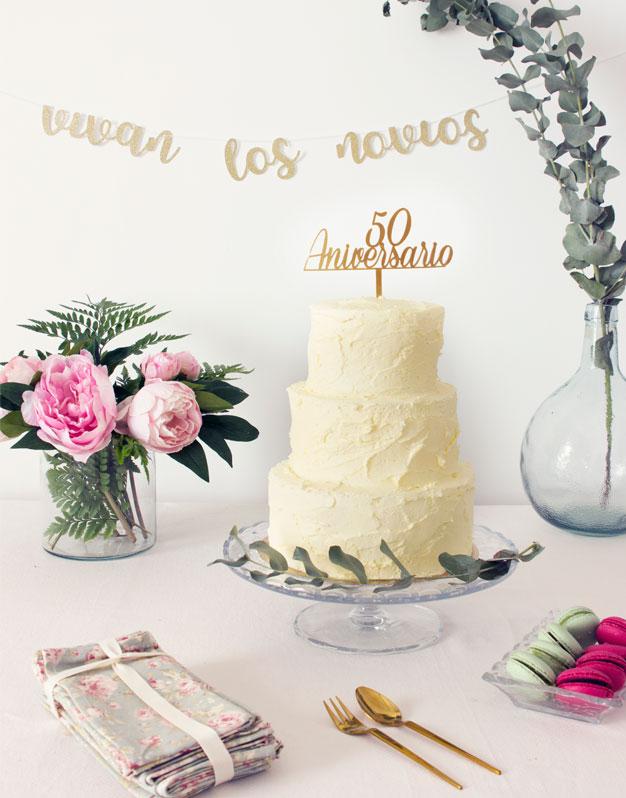 Adorno para tarta cake topper personalizado aniversario
