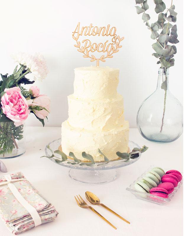 Adorno para tarta cake topper personalizado boda nombres