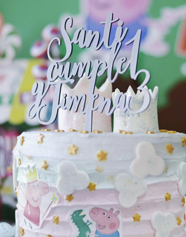 Cake topper personalizado cumpleaños doble