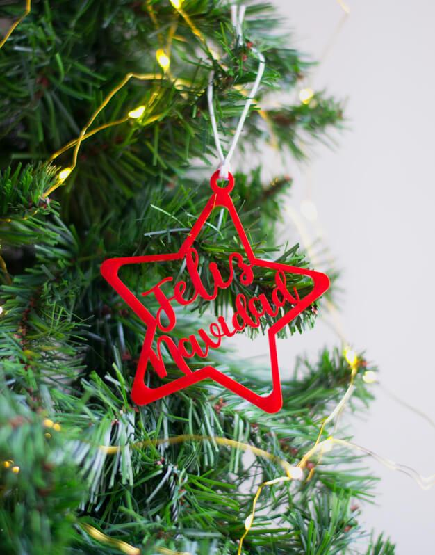 Adorno estrella feliz navidad