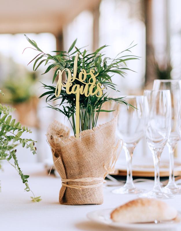 Mesero de bodas para la mesa de los peques.