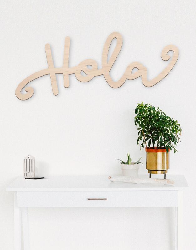 Cartel Holaperfecto para la decorar la entrada de casa, disponible en cuatro tamaños. Una propuesta para regalar a quienes estrenan un nuevo hogar. Diseño exclusivo Knots made with love.