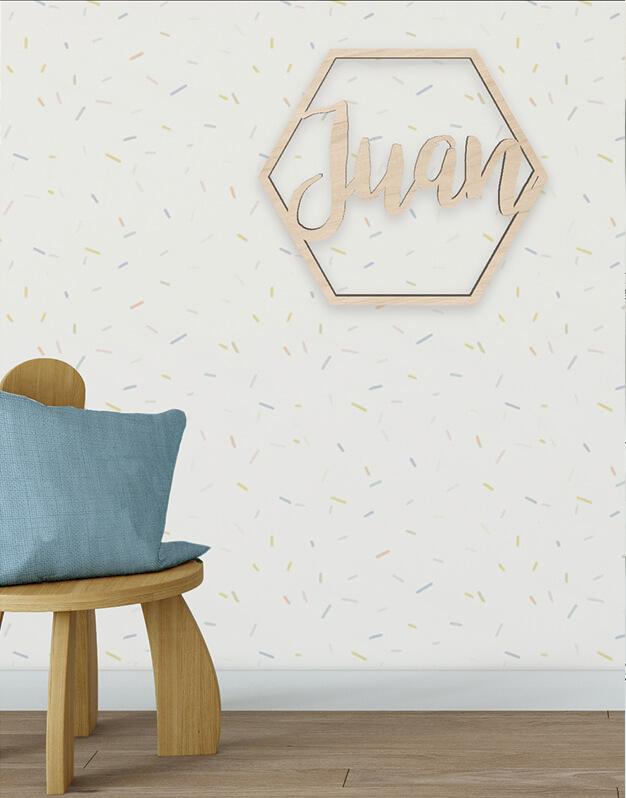 Hexágono con nombre fabricada en madera perfecto para decoración diseño exclusivo knots made with love.