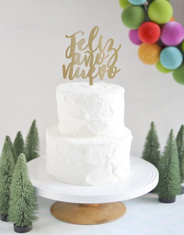 Feliz año nuevo cake topper adorno para tarta Navidad diseño exclusivo de Knots made with love. Haz una tarta y combínalo con este knots. ¡Descubre los colores disponibles!