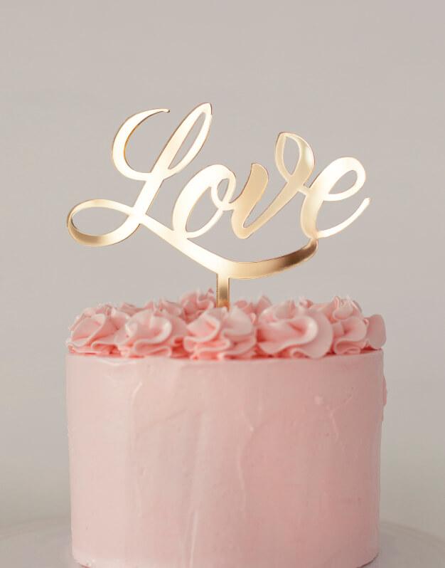 Love cake topper adorno para tarta knots made with love. Este original diseño con gráfica sesentera quedará perfecto en tu tarta de bodas.