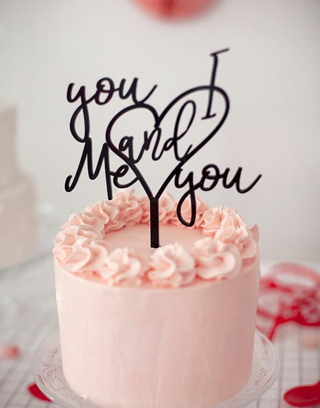 You and I Me and you cake topper adorno para tarta es de la canción más romántica de Wilco. No te pierdas este diseño de la nueva colección Knots made with love.