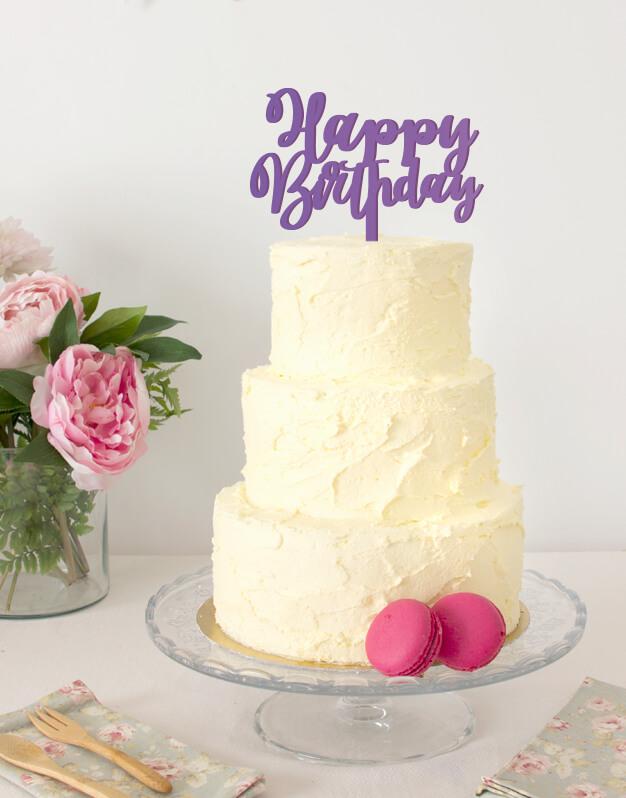 Happy Birthday cake topper adorno para tarta de cumpleaños disponible en más de 30 colores. Descubre este adorno para pastel único en knots made with love