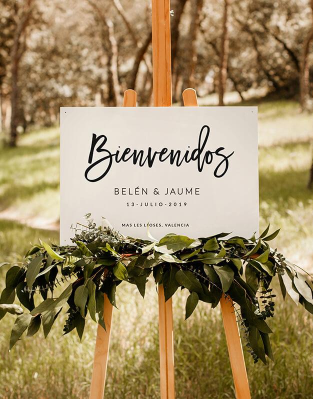 Cartel horizontal bienvenidos personalizado para bodacon mensaje bienvenida, agradecimiento, personalizado con los nombres de los novios, fecha y ciudad de celebración.
