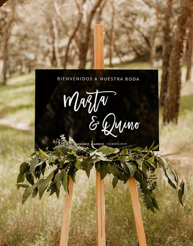 Elegante cartel rectangular horizontal personalizado para boda con nombres y mensajepara sorprender a tus invitados en su llegada con este diseño Knots.