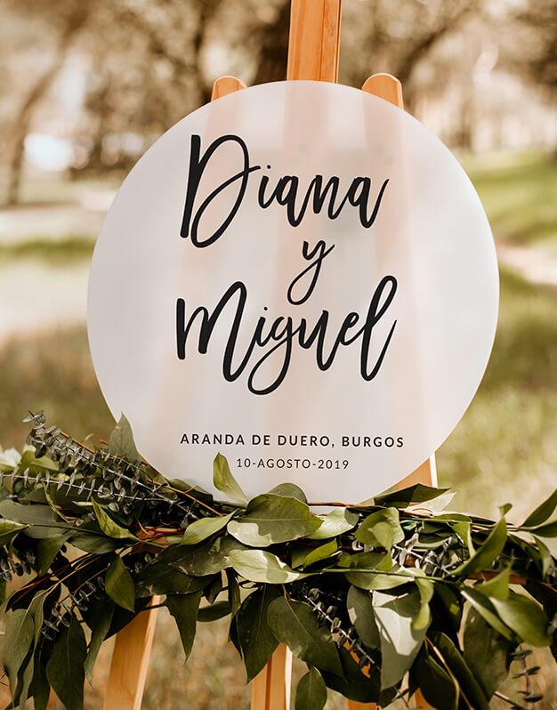 Elegante Cartel circular personalizado para boda con nombres, con o sin fecha y lugar de celebración. ¿Cuál es tu combinación favorita?