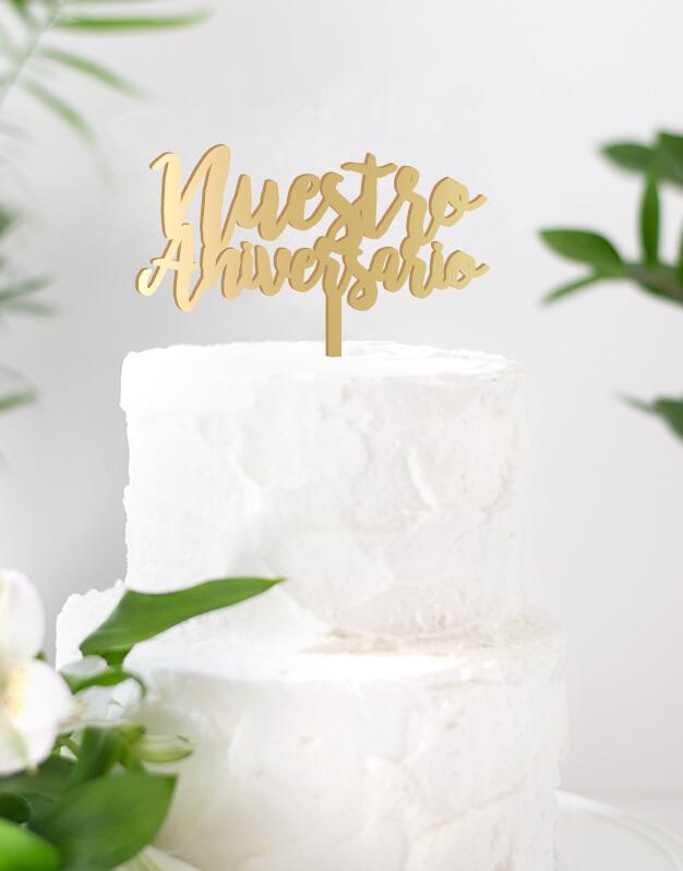 Nuestro aniversario cake topper adornos para tarta boda o para una celebración romántica. Una propuesta original para sorprender en vuestro día especial. Dimensión estándar aproximada de 14,5 cm de ancho.