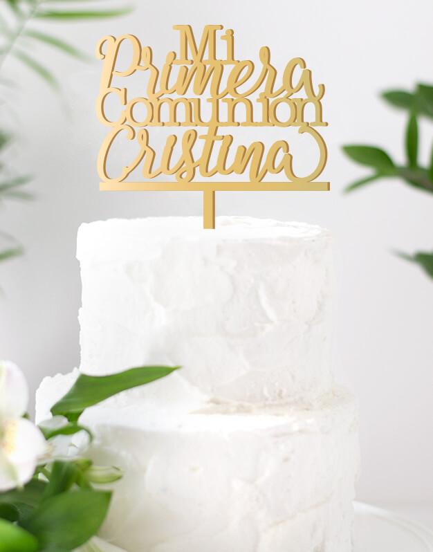 Mi Primera Comunión Nombre No te pierdas los cake toppers personalizados para tartas de comunión descúbrelo en Knots made with love.