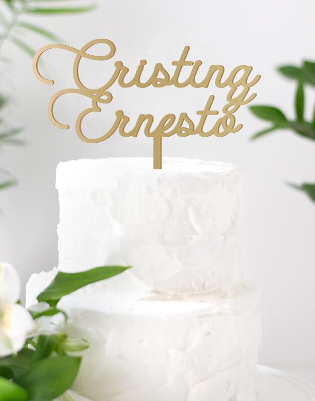 Cake topper personalizado boda. Cake topper nombres personalizados Parker diseñopara el gran día. En este diseño utilizamos una tipografía de estilo americano. Un detalle único que podrás guardar de recuerdo después de la celebración para recordar el día de vuestra boda.