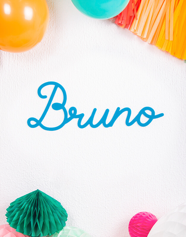 Cartel personalizado nombre script para decoración en bautizo, comuniones, bodas y eventos, fabricado en madera y acrílico. ¡Descúbrelo en la tienda online!