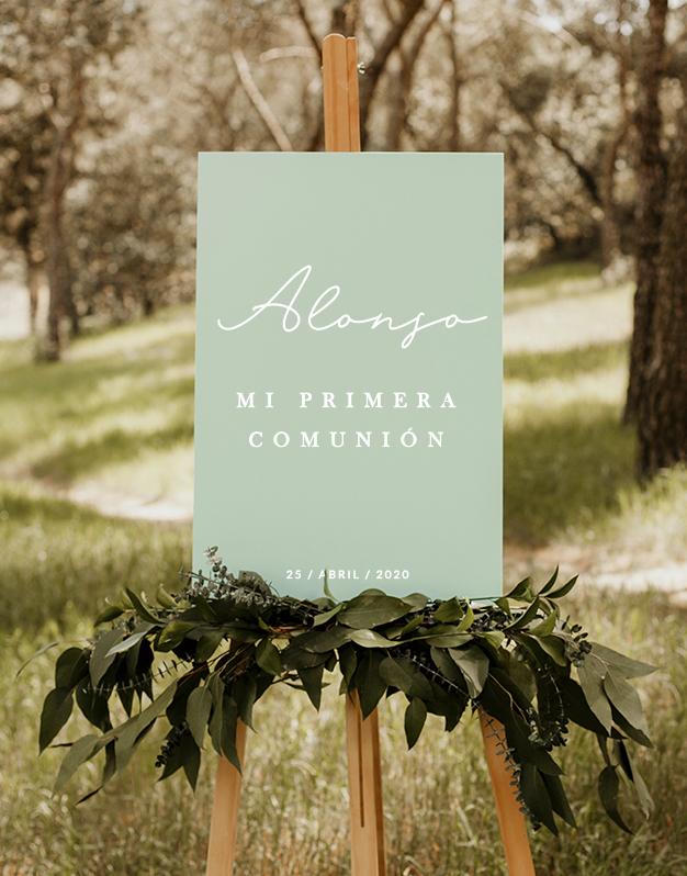 Elegante cartel rectangular para primera comunión personalizado con nombre y fecha. Sorprende a los invitados en un día tan especial con un producto knots.