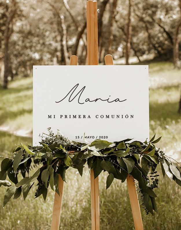 Elegante cartel horizontal mi primera comunión personalizado nombre y fecha. Sorprende a los invitados en un día tan especial con un producto knots.