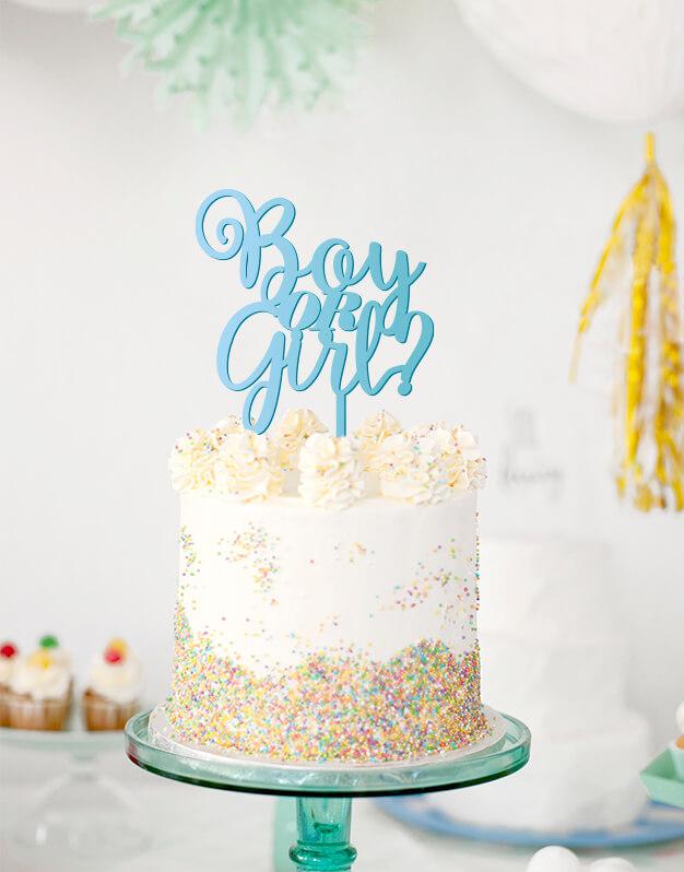 Boy or Girl? cake topper adorno para tarta baby shower. Es la última tendencia para desvelar el sexo del bebé, un momento único en celebraciones o baby shower, en el que dar una sorpresa a tus familiares y amigos con ese dato que tanta ilusión nos hace.