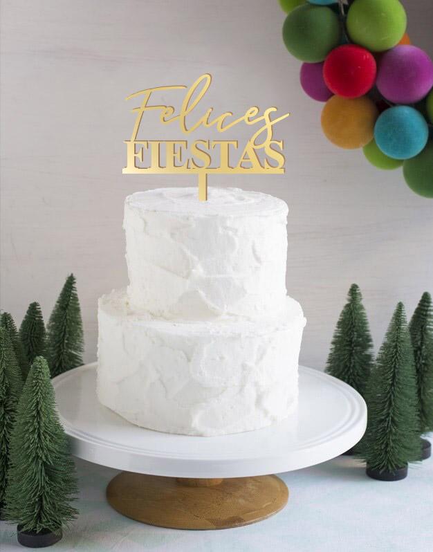 Felices Fiestas Moderncake topper adorno para tarta perfecto para felicitar la Navidad a nuestros seres más queridos en estas fiestas tan especiales.