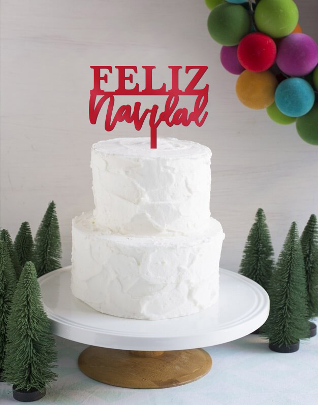 Feliz Navidad Moderncake topper adorno para tarta perfecto para felicitar la Navidad a nuestros seres más queridos. Diseño exclusivo Knots made with love.