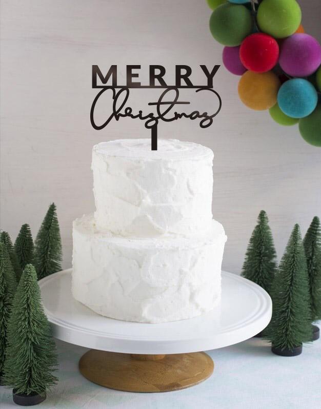 Merry Christmascake topper en inglés adorno para tarta perfecto para felicitar la Navidad a nuestros seres más queridos. Diseño exclusivo Knots made with love.
