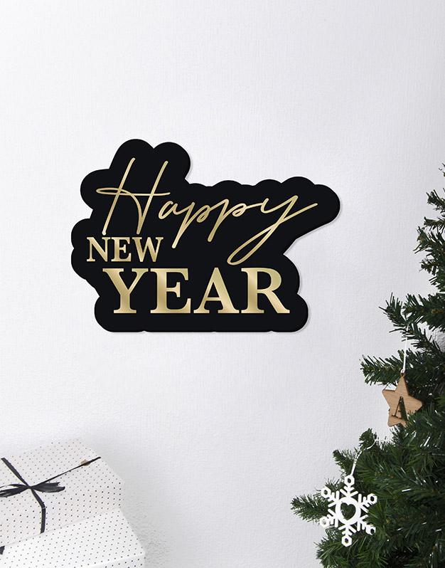 Happy New Year Cartel Este adorno de diseño único quedará espectacular para la bienvenida de tu cena o fiesta de fin de año. ¡Descúbrelo!