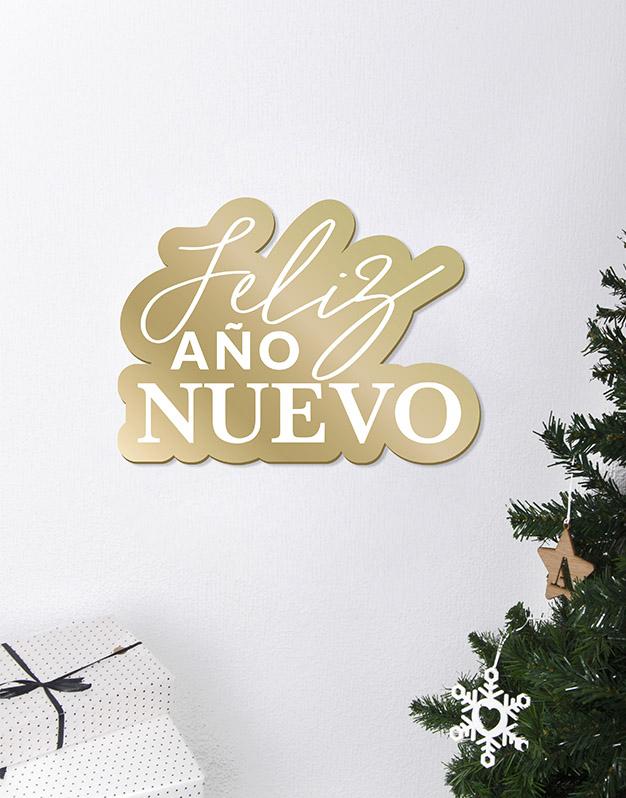 Feliz Año Nuevo Cartel Este adorno de diseño único quedará espectacular para la bienvenida de tu cena o fiesta de fin de año. ¡Descúbrelo!