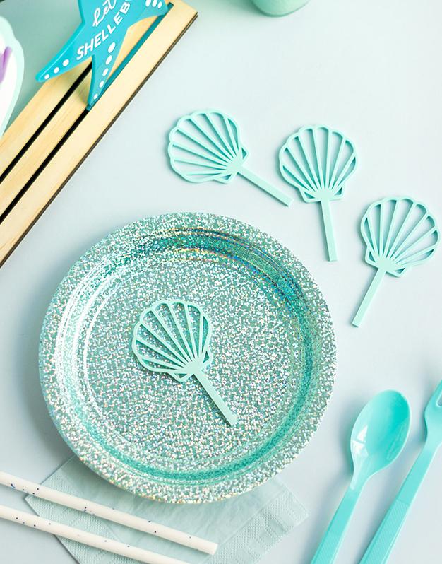 Mini topper Concha marina ideal para fiestas de sirenas y bajo el mar. ¡Descúbrelo en Knots y decora tu celebración al detalle!