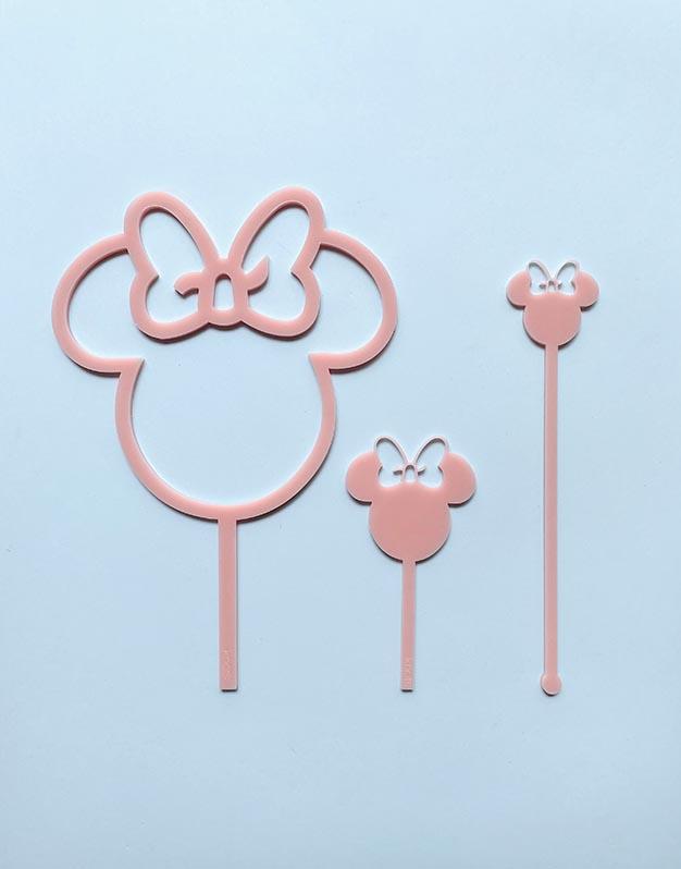 Mini toppers ratoncita M. Mouse elige el color que quieras para tu fiesta. ¡Descúbrelo en Knots y decora tu celebración al detalle!
